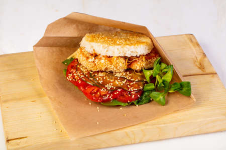 Rice burger with crispy chicken