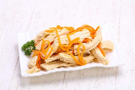 Korean asparagus heap in the bowl
