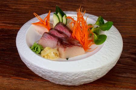 Japanese cold sashimi with yellowtail