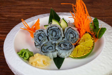 Japanese sashimi squid served lime and mint