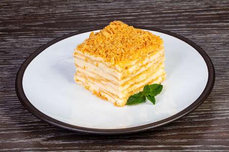 Delicious napoleon desert cake servet mint