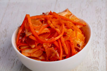 Tasty pickled salad with korean carrot and cabbage
