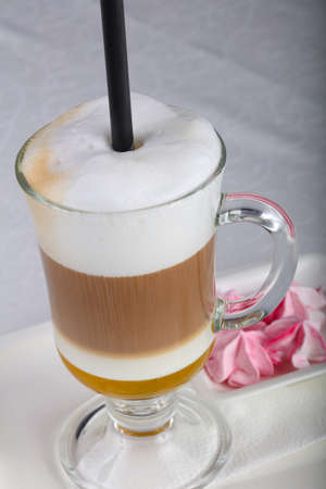 Latte coffee with caramel