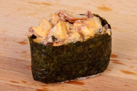 Gunkan sushi with chicken meat Stock Photo