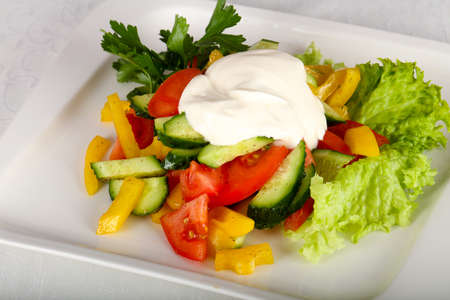 Vegetable salad - tomato, cucumber, pepper and sauce