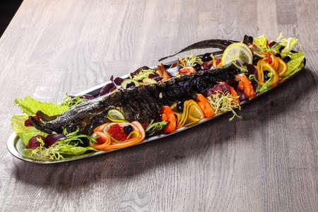 Straugeon with prawn and caviar