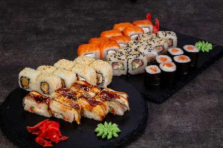 Japanese sushi set with various ingredient Stok Fotoğraf