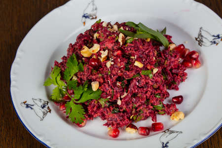 Georgian beetroot salad with coriander leaves