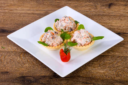 Russian salad canape served ruccola