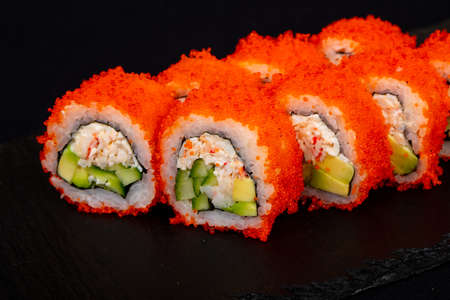 Japanese cold roll with crab Stock Photo