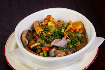 Pickled mushrooms mix with herbs and spices Stock fotó