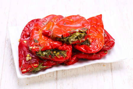 Pickled red bell pepper with dill