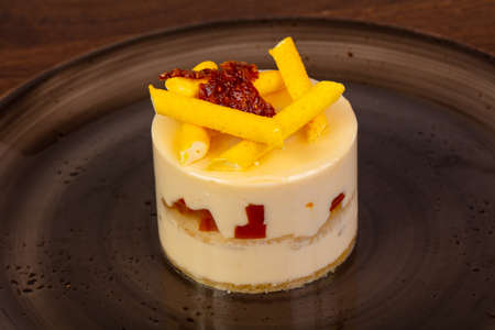Sweet Mango mousse in the plate