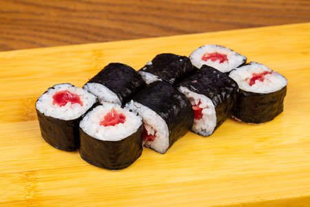 Delicious tuna sushi roll set Stock Photo