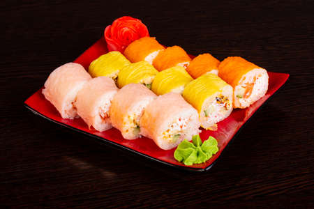 Japanese mamenori roll with salmon and eel