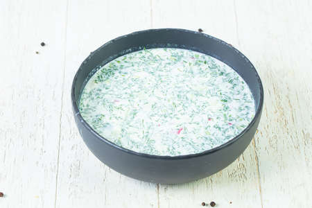 Russian Okroshka soup with kefir
