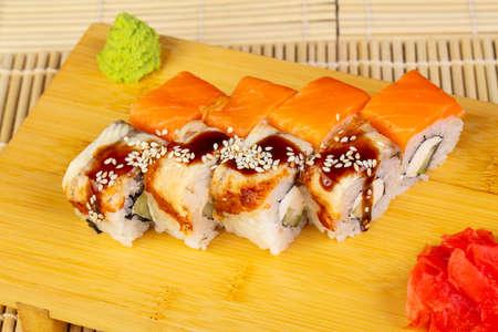 Delicious Philadelphia sushi mix with wasabi Stok Fotoğraf