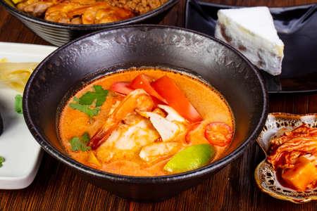 Thai Tom Yam soup with prawn Stock Photo