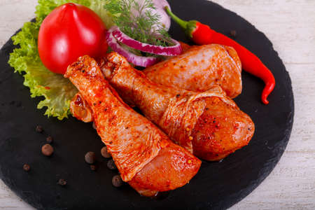 Raw marinated chicken legs for grill and bbq Reklamní fotografie