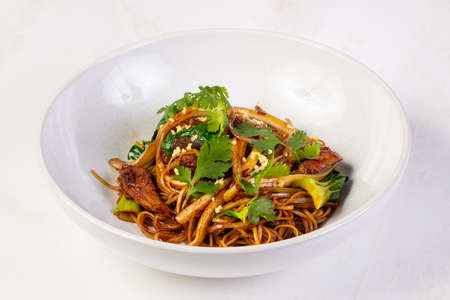 Egg noodle with oyster sauce 스톡 콘텐츠