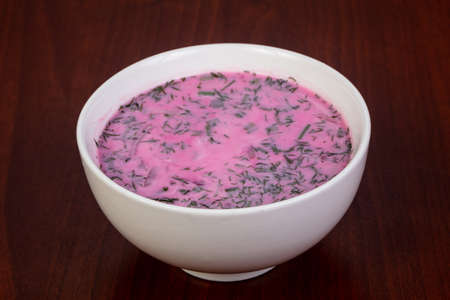 Russian traditional cold Okroshka soup