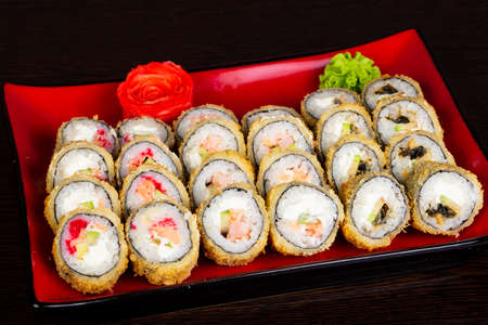 Japanese traditional roll and sushi set Stok Fotoğraf