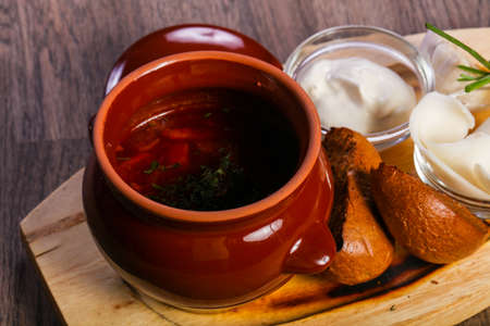 borsht soup with pork fat and garlic Stock Photo