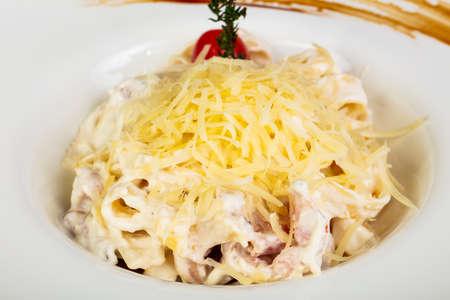 Italian Pasta Carbonara with bacon