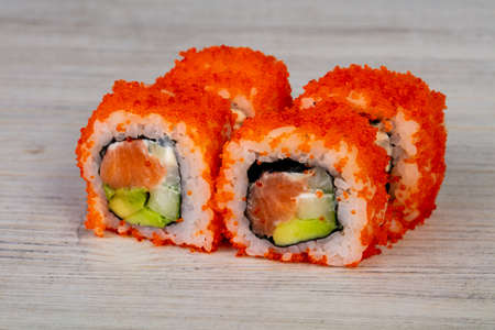 Japanese traditional roll with salmon 写真素材