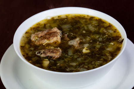 Hashlama soup with lamb and vegetables
