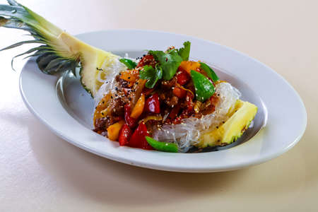 Pineapple with rice noodle and pork meat