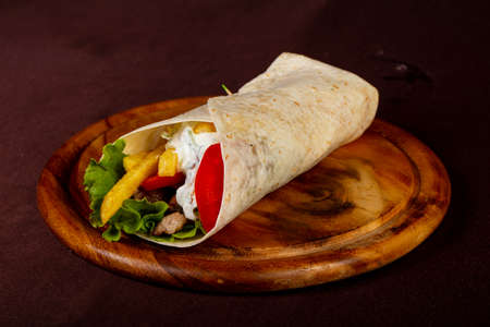 Souvlaki with meat and vegetables Stock Photo