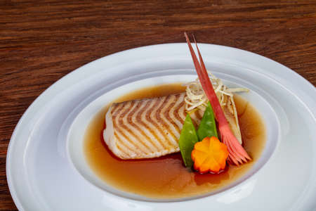 Baked cod fish in miso sause