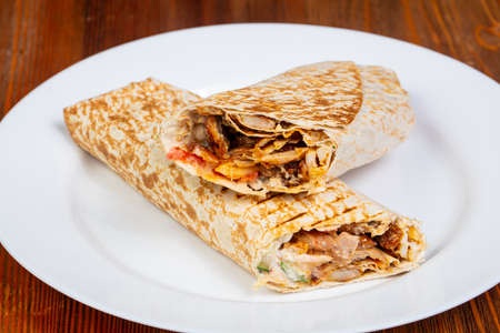 Doner Kebab with meat and vegetables