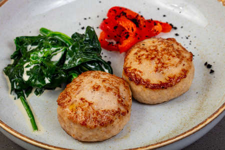 Two Chicken cutlet with spinach