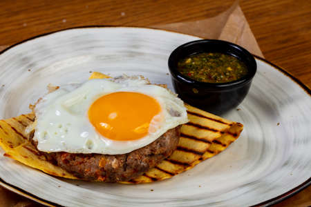 Beef cutlet with egg and sauce Stok Fotoğraf