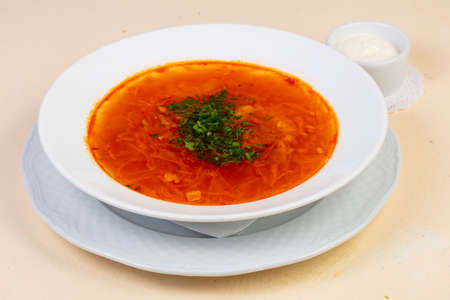 Russian borsch soup with beef
