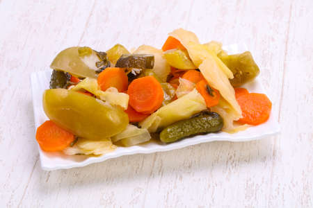 Pickled vegetables mix in the bowl 写真素材