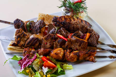 Barbeque meat mix plate with vegetalbes