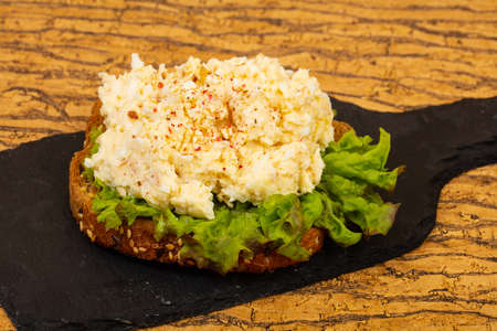 Bruschetta with cheese and salad leaves