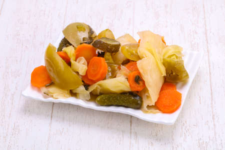 Pickled vegetables mix in the bowl Stok Fotoğraf