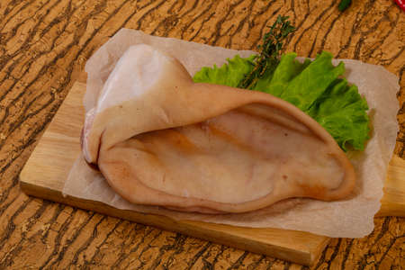 Raw pork ear for cooking