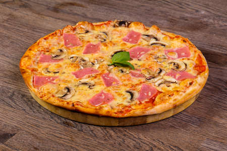 Pizza mushrooms and ham with cheese