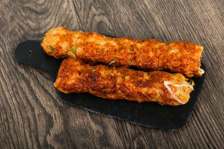 Chicken Kofta with onion and parsley Stock Photo