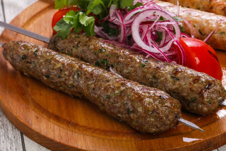 Beef and chicken kebab from minced meat