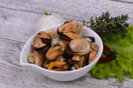 Pickled mussels in the bowl served pepper, garlic and salad leaves 免版税图像 - 116810570