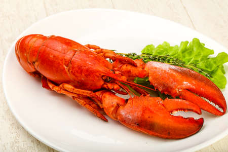 Delicious cuisine - Boiled Lobster ready for eat Stock Photo