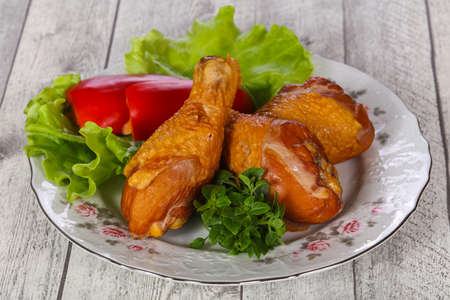 Smoked Chicken legs with salad leaves