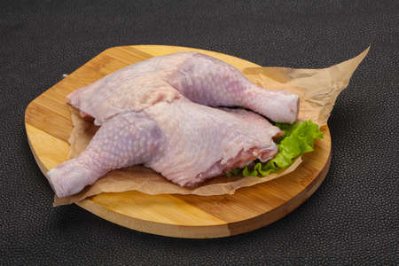 Raw chicken leg ready for cooking