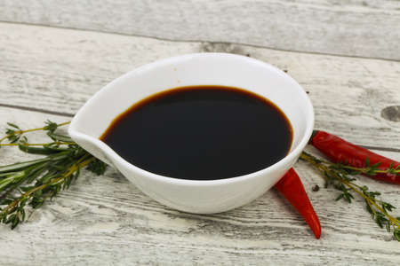 Soya sauce in the bowl served pepper Stock Photo